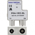 Braun POA1 IEC coax opdruk verdeler radio TV (tv male-radio female)