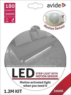 Avide Led Strip met sensor 3w 216Lumen 3000K wit IP65 1.2m